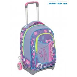 Trolley Seven New Jack - Bundle Girl - Viola Rosa - Sganciabile e Lavabile - Scuola e viaggio