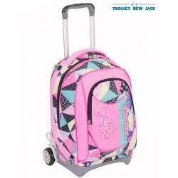 Trolley Seven New Jack - Fancy - Rosa Nero - Sganciabile e Lavabile - Scuola e viaggio