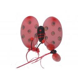 Set ali coccinella con bacchetta e cerchietto rosse