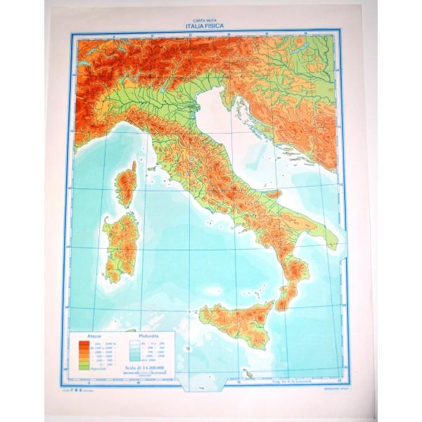 abbastanza ITALIA FISICA - POLITICA \ Carta Geografica Muta- Studio F.M.B.  KL67